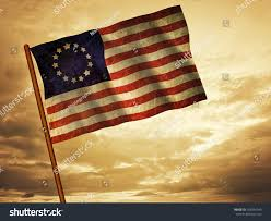 Betsy Ross Flags Old American Flag Waving Over Sunset Stock Illustration 105934343