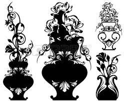 Black And White Vases Ancient Sword Among Rose Flower Stems Black And White Vector