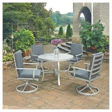 Swivel Rocking Chairs For Patio South Beach 5pc Round Metal Patio Dining Set W Swivel Rocking