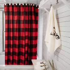 Red And Black Bathroom Ideas Buffalo Check Shower Curtain Simons Decor Bathroom Chalet