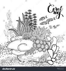 coral reef line art style ocean stock vector 358073948 shutterstock