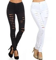 Destroyed High Waisted Jeans Plus Size High Waist Destroyed Jeans Clothing For Large Ladies