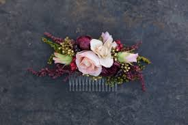 Burgundy Flowers Flower Hair Comb Floral Pink Burgundy Fairy Hair Flowers Wedding