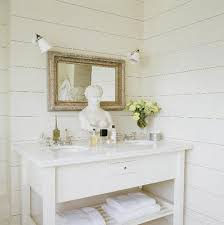 White Cottage Bathroom Vanity by White Washed Cottage Bathroom White Wood Paneling In Bathroom