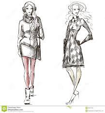 fashion illustration winter style sketch royalty free stock image