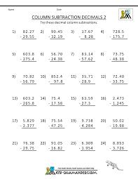 5th grade math worksheets column subtraction decimals 2 kelpies