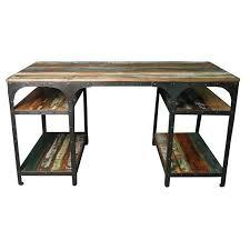 bureau bois recyclé bureau en fer forgé et bois meuble industriel loft
