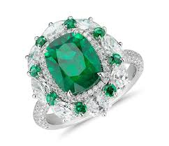 emerald emerald and diamond cocktail ring in 18k white gold 3 71 ct
