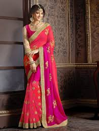 rani pink colour pink saree online buy pink sarees with golden border for women