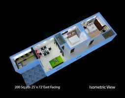200 sq yds 25x72 sq ft east face house 2bhk isometric 3d view for