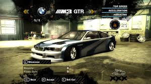 need for speed bmw need for speed most wanted save file with the player s bmw m3 gtr