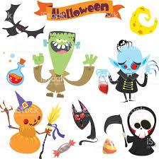 cute halloween background vectors cute cartoon halloween characters icon setfrankenstein pumpkin