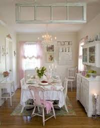 pink and white shabby chic idea in small kitchen design integrated