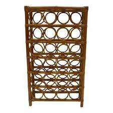 metal wine rack table vintage used bamboo wine racks chairish