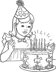 a little with happy birthday cake coloring page color luna