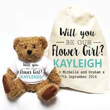 flower girl teddy gift will you be our flower girl personalised teddy gift