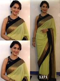 Pista Color by Buy Madhuri Dixit In Pista Gerogette Saree Online