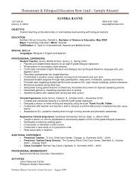Sample Resume For Bilingual Teacher by Sample Teaching Resume Examples Of Excellent Teacher Resumes New