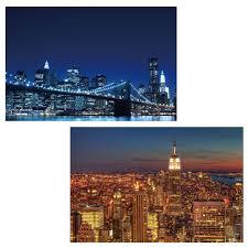 Wohnzimmertisch New York Led Bild Mit Beleuchtung Leinwandbild Leuchtbild Wandbild 60x40cm