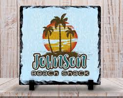 slate sign monogram family name sign beach shack sign beach slate sign monogram family name sign beach shack sign beach decor beach scene home decor custom personalized slate plaque gift at groovygiftables