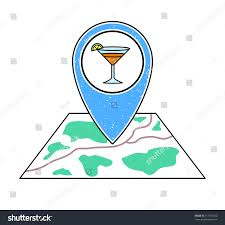 textured blue geotag icon cocktail glass stock vector 713751022