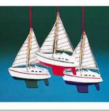 wooden sailboat ornament set of 3 transportation ornaments