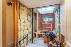 gutting hall bath to make a wet room behind frosted glass walls