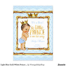 Shop Invitation Card Light Blue Gold White Prince Baby Shower Brunette 5x7 Paper