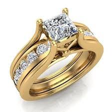engagement rings sets princess cut adjustable band engagement ring set 14k gold g h si1