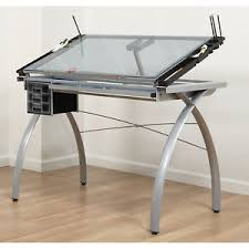 top drafting table blue glass top drafting table craft station silver drawing desk