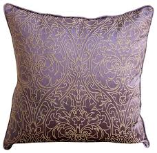 The HomeCentric Purple & Gold Purple Art Silk Throw Pillow