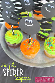 craftaholics anonymous easy halloween spider cupcake toppers