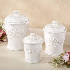 kitchen canisters sets anca leaf white kitchen canister set