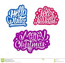 merry christmas and feliz navidad stickers stock vector image