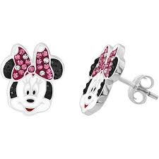 minnie mouse earrings disney minnie mouse sterling silver pink and white stud