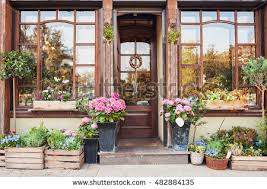 flowers store flower store cafe entrance decorated flowers stock photo 482884135