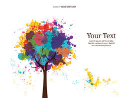 abstract color ink tree vector