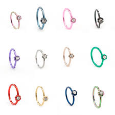nose rings titanium images Anodized titanium bendable nose hoop ring with flower design and jpg