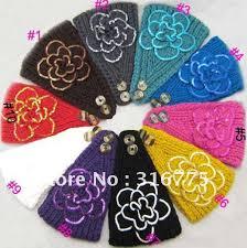 crochet ear warmer headband free shipping women new knitted sequins flower headband crochet