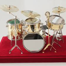 golden miniature drum set metal crafts ornament for miniature