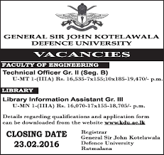 lanka vacancies technical officer gr ii library