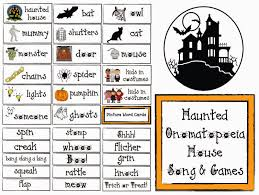 classroom freebies haunted onomatopoeia house song and games for