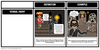 verbal irony cask of amontillado storyboard by rebeccaray