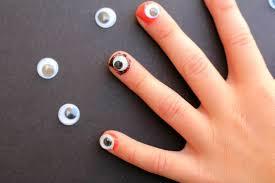halloween fingernails a and a glue gun