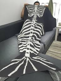 Halloween Skeleton Pattern by Fish Skeleton Wrap Sofa Men Halloween Mermaid Blanket Grey White