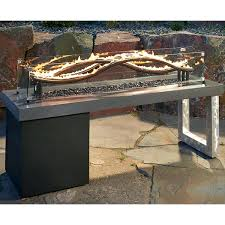 Gas Firepit Table Rectangle Propane Pit Real Concrete Pit
