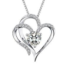 white gold hearts necklace images Heart necklace 14k white gold plated 5a cubic zirconia jpg