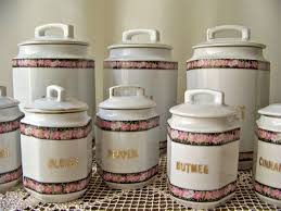 vintage canisters for kitchen vintage canisters for a kitchen in pastel pink colors