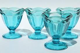 anchor hocking laser blue colored glass sundae dishes