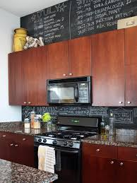 kitchen style black chalkboard paint backsplash brown flat